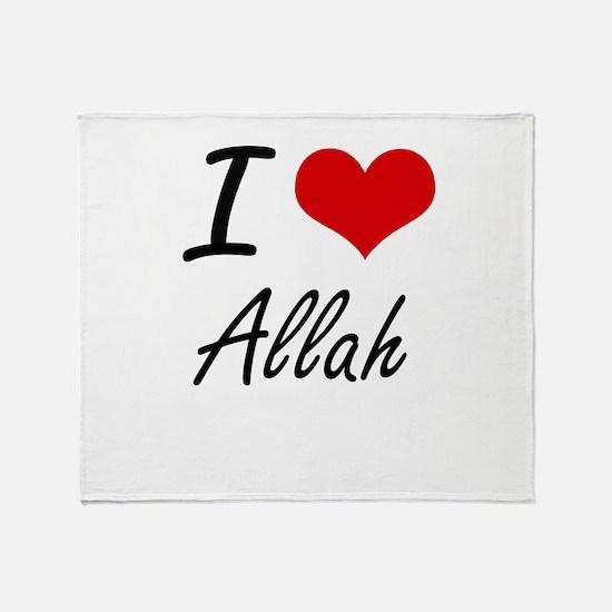 I Love Allah Artistic Design Throw Blanket