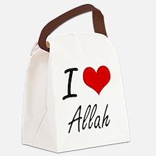 I Love Allah Artistic Design Canvas Lunch Bag