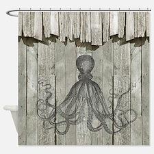 Rustic Barn Wood Octopus Shower Curtain