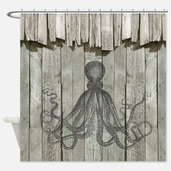 Rustic Barn Wood Octopus Shower Curtain