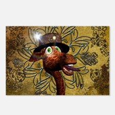 Steampunk, funny giraffe Postcards (Package of 8)