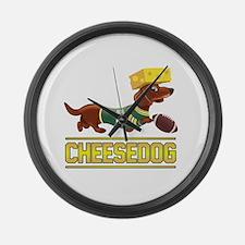 Cheesedog 2 (Dachshund) Large Wall Clock