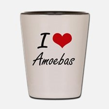 I Love Amoebas Artistic Design Shot Glass