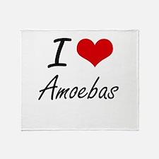 I Love Amoebas Artistic Design Throw Blanket