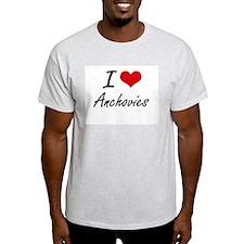 I Love Anchovies Artistic Design T-Shirt
