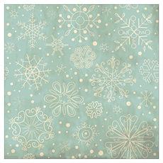Vintage Blue Snowflake Ornaments Poster