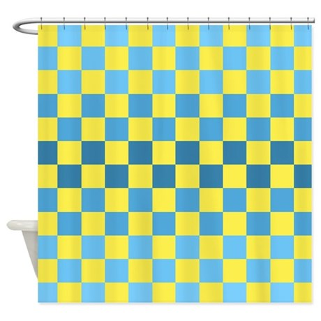 Blue Yellow Squares Shower Curtain By Agpaintedbrushtshirts