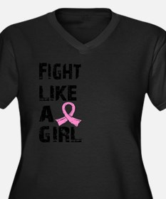 Cute Breast cancer fight like girl Women's Plus Size V-Neck Dark T-Shirt