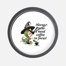 HALLOWEEN WITCH - HOCUS POCUS I NEED  C Wall Clock