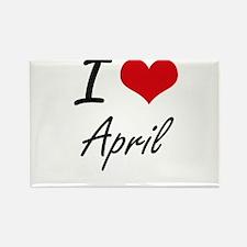 I Love April Artistic Design Magnets