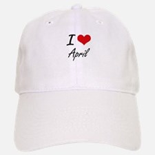 I Love April Artistic Design Baseball Baseball Cap