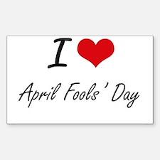 I Love April Fools' Day Artistic Design Decal
