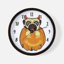 Halloween Pug Wall Clock