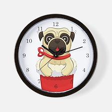 Christmas Pug Wall Clock