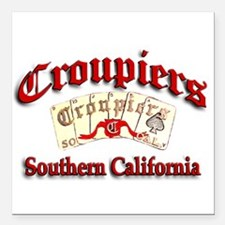 "Croupiers Car Club Square Car Magnet 3"" x 3"""