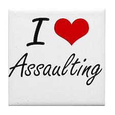 I Love Assaulting Artistic Design Tile Coaster