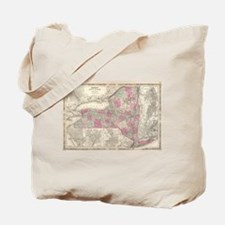 Vintage Map of New York (1864) Tote Bag