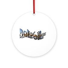 DETROIT FANCY LETTER (SKYLINE)Ornament (Round)