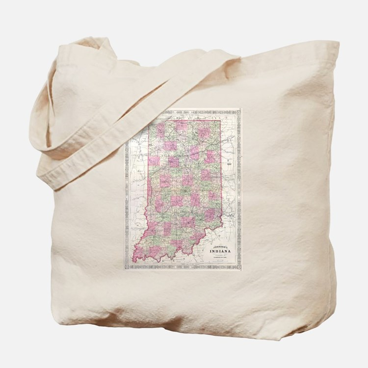 Vintage Map of Indiana (1864) Tote Bag