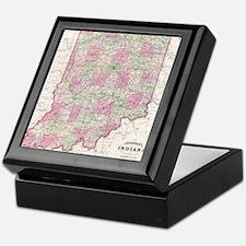 Vintage Map of Indiana (1864) Keepsake Box