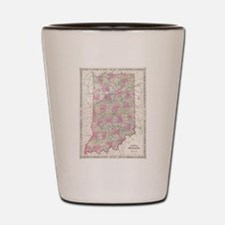 Vintage Map of Indiana (1864) Shot Glass