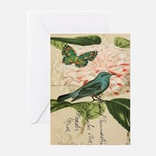 french botanical flower bird Greeting Cards
