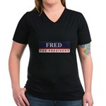 Fred Thompson for President Women's V-Neck Dark T-