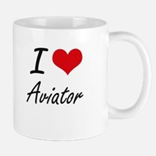 I Love Aviator Artistic Design Mugs