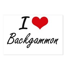 I Love Backgammon Artisti Postcards (Package of 8)