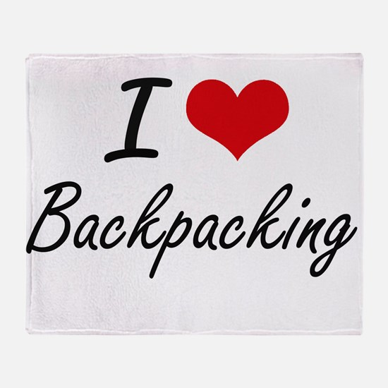I Love Backpacking Artistic Design Throw Blanket