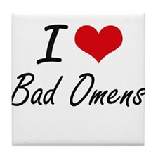 I Love Bad Omens Artistic Design Tile Coaster