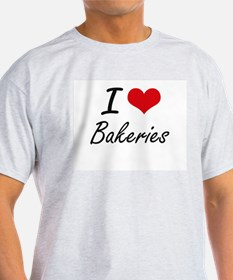 I Love Bakeries Artistic Design T-Shirt