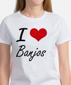 I Love Banjos Artistic Design T-Shirt