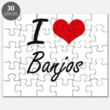 I Love Banjos Artistic Design Puzzle