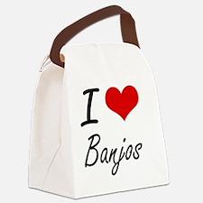 I Love Banjos Artistic Design Canvas Lunch Bag