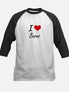 I Love Barns Artistic Design Baseball Jersey