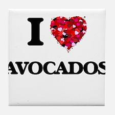I Love Avocados food design Tile Coaster