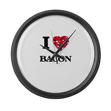 I Love Bacon food design Large Wall Clock