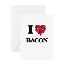 I Love Bacon food design Greeting Cards