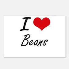 I Love Beans Artistic Des Postcards (Package of 8)