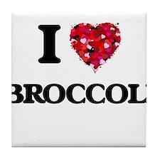 I Love Broccoli food design Tile Coaster