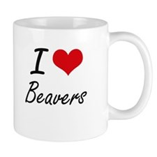 I Love Beavers Artistic Design Mugs