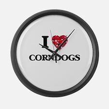 I Love Corndogs food design Large Wall Clock