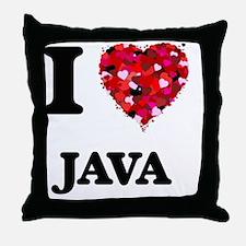 I Love Java food design Throw Pillow