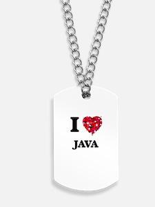 I Love Java food design Dog Tags