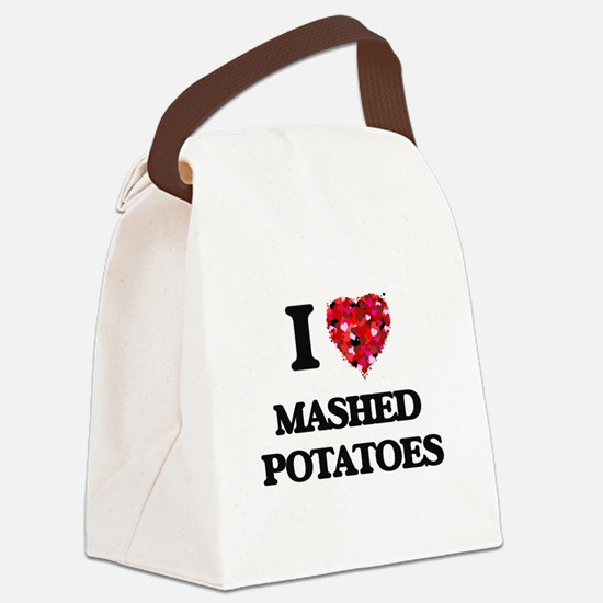 I Love Mashed Potatoes food desig Canvas Lunch Bag