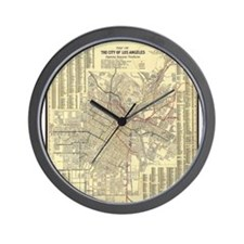 Los Angeles Old Map Wall Clock