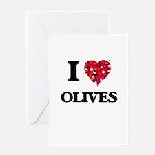 I Love Olives food design Greeting Cards