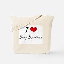 I Love Being Bipartisan Artistic Design Tote Bag