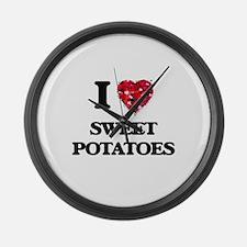 I Love Sweet Potatoes food design Large Wall Clock